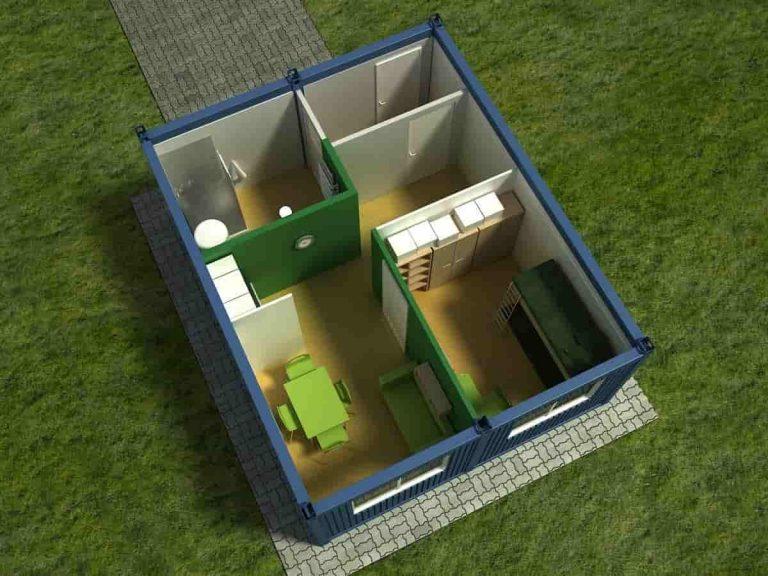 Dwa kontenery socjalne widok zgóry