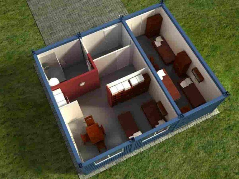 Trzy kontenery mieszkalne widok zgóry